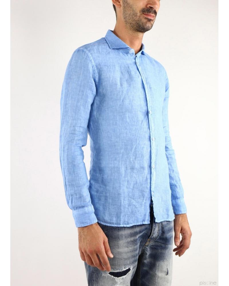 Chemise en lin bleu Vente spéciale chemises