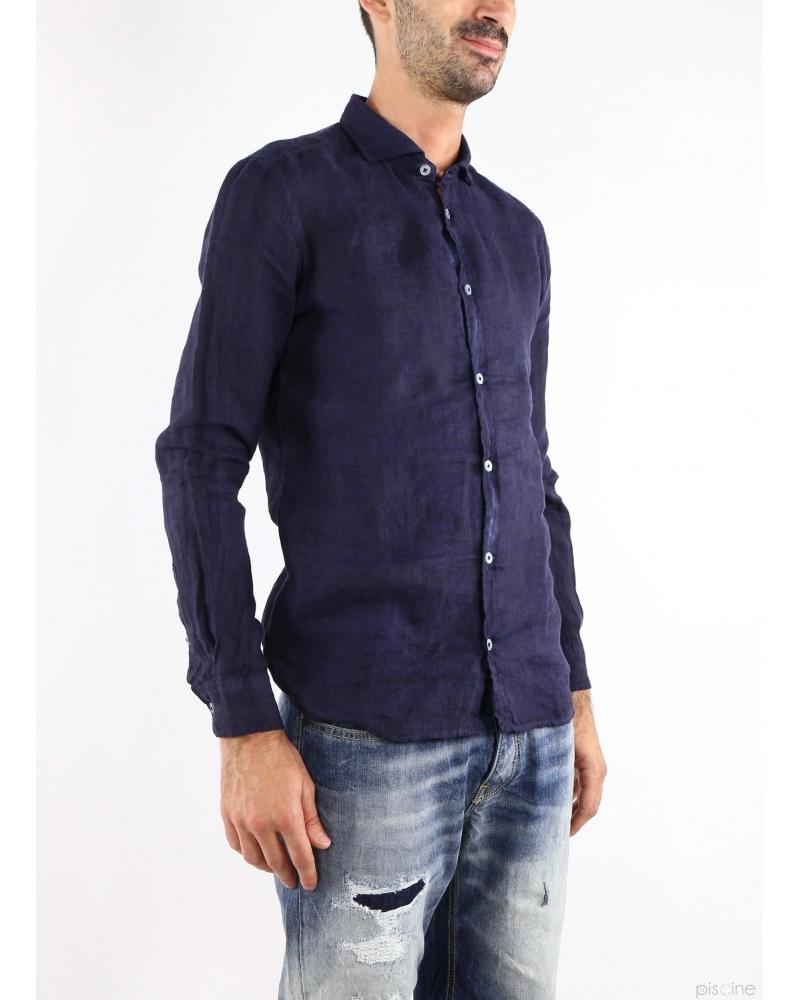 Chemise en lin marine Vente spéciale chemises